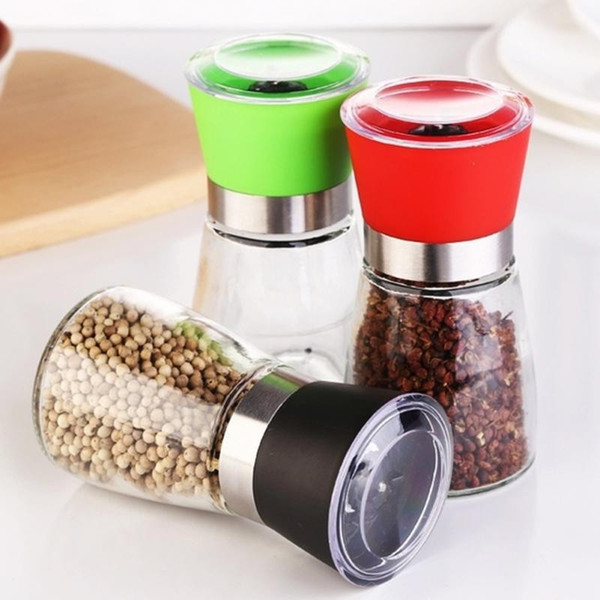 top popular Pepper Grinder Mill Glass Round Bottle Salt Herb Spice Hand Manual Pepper Mill Cooking BBQ Seasoning Mills Kitchen Tools 2021