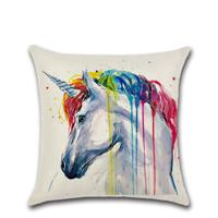 Wholesale 8 Styles Household 45*45cm Rainbow Animal Pattern Linen Cushion Covers Bedroom Seat Christmas Gifts Home Decor Party Decoration
