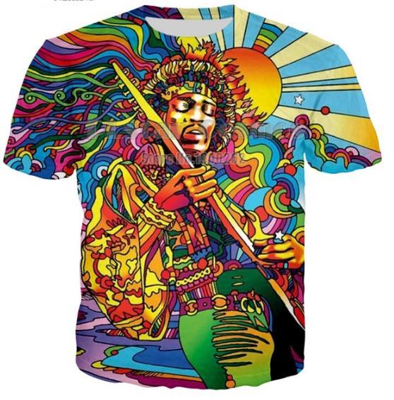 Nouveau style d'été mode hommes / femmes musicien hippie drôle 3D impression décontractée t-shirt ABCQ00175