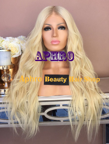 """Wholesale Luxury Virgin Hair 5x5 inch Natural Wavy Silk Top Blonde Full Lace Dark Roots Wigs 20""""-30"""" 180% Density Glueless Full Lace Wigs"""