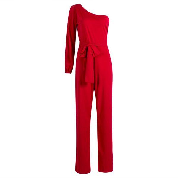Women Summer Clubwear Playsuit Jumpsuit Solid One Shoulder Long Trousers