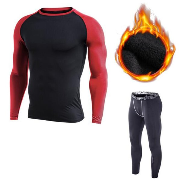 2018 hot New Thicken Running Sets Men Sport Suit Compression Tight Underwear Fitness Gym Jogging Football Training Sport Suit