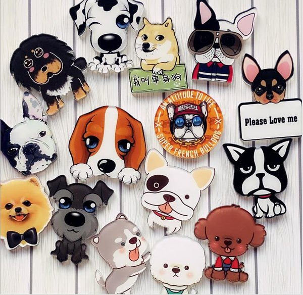 top popular Cartoon Dog Brooch Badges Acrylic Badge Decoration Backpack Decorative Brooches Pin On Clothing Bag Decor For kid 2020