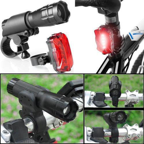 Impermeable Ultra brillante LED Ciclismo Juego de luces para bicicleta Luz delantera para bicicleta + Lámpara de advertencia de seguridad trasera LED Luz de cola de bicicleta Linterna