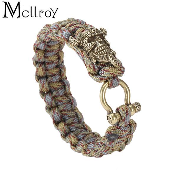 Mcllroy charm bracelets men jewelry outdoor umbrella rope diy woven bull skull bracelets bangles for men handmade knots bracelet