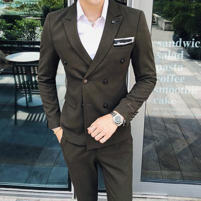 Suit jacket men's Korean version of the wild wedding dress groomsmen dress business casual double-breasted small suit
