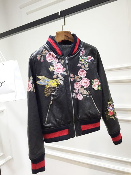 2019 Autumn New G Women Clothes Fashion Embroidered Butterfly Bee Printing PU Leather Jacket Baseball Clothing Short Jacket Female Size S-L