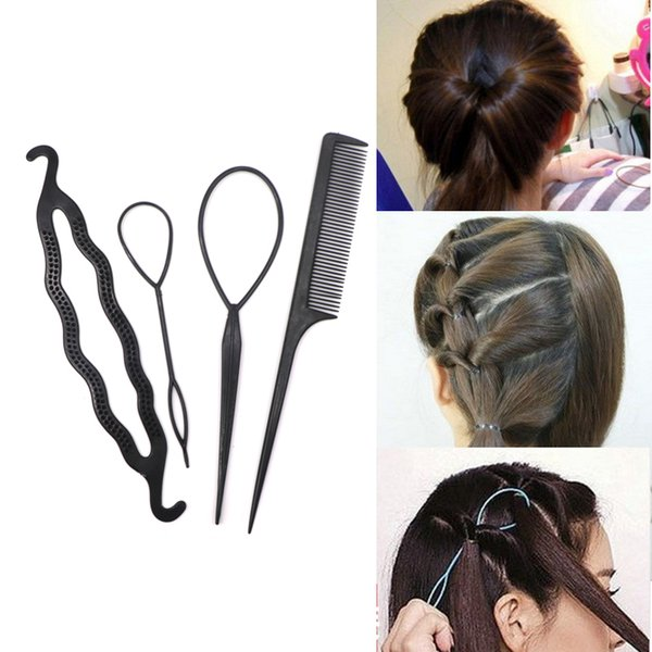 4PCS Hair Disk Pull Hair Pins Clips Comb For Girls Styling Tools Kit Braiding Donut Bun Maker Hairdressing Accessories