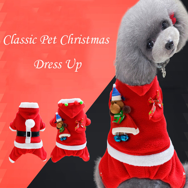 Classic Santa Clothes Winter Warm Fleece Dog Clothes For Small Medium Dogs Cute Christmas Pet Dog Jumpsuit Chihuahua Hooded Coat
