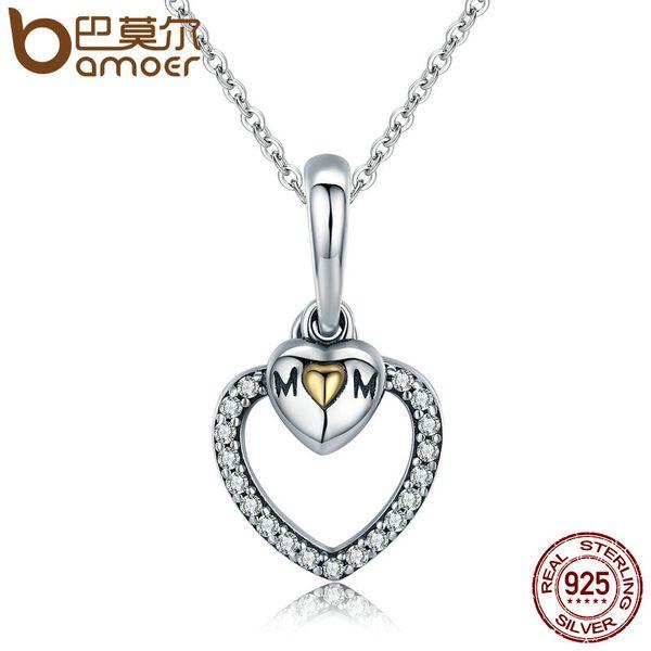 Commercio all'ingrosso Madre regalo 100% 925 sterling silver per l'amore della madre Collana ciondolo cuore d'oro per la collana a catena gioielli regalo della mamma