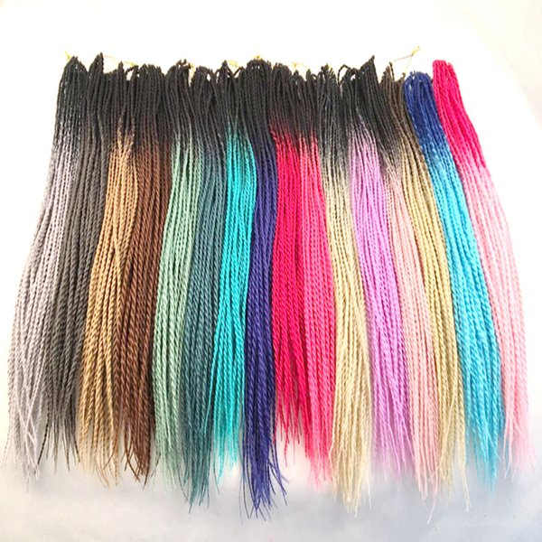 best selling Synthetic Braiding Hair Ombre Senegalese Twist 24inch Two Tone Crochet Braiding Synthetic Hair Extensions Customized Color