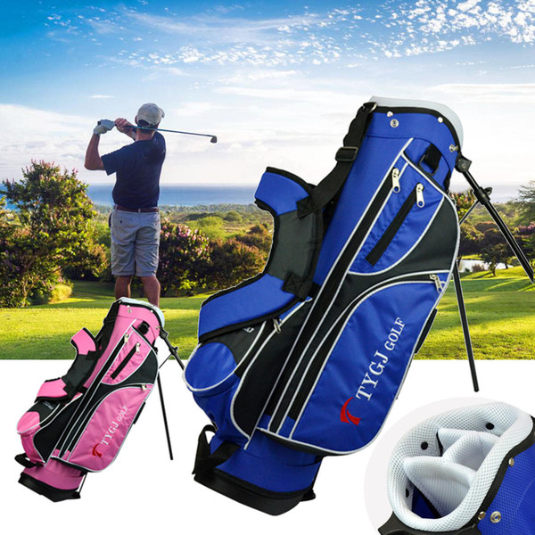 4-Way Children Lightweight Golf Rod Stand Bag Clubs Carry Organizer Storage Pouch With Shoe Compartment