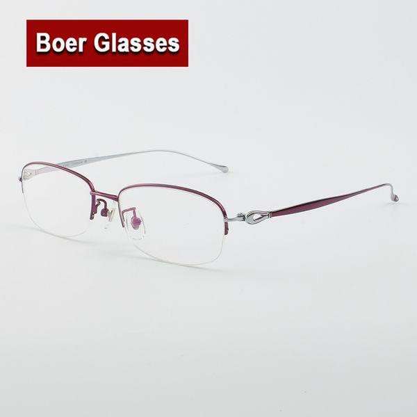 Hotsale comforble Femmes Pure Titanium Lunettes De Vue Halfrim Optique Cadre Prescription Spectacle Lecture Myopie EyeGlasses LB6625