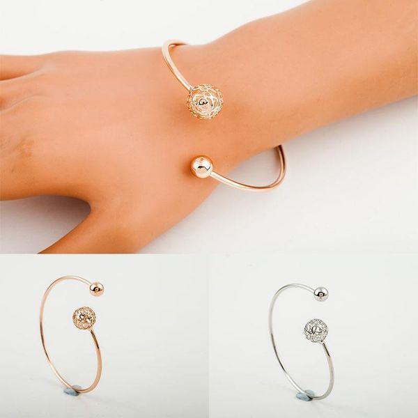 whole saleHollow Ball Bangle Women Gold Silver Plated Beads Flower Charm Wristband Cuff Bracelet Fashion Jewelry Accessories