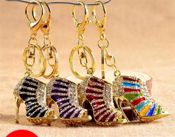 Crystal zapatos de tacón alto llavero llaveros zapatos de cristal mosquetón llavero bolso cuelga de las mujeres llavero de Metal joyería J105