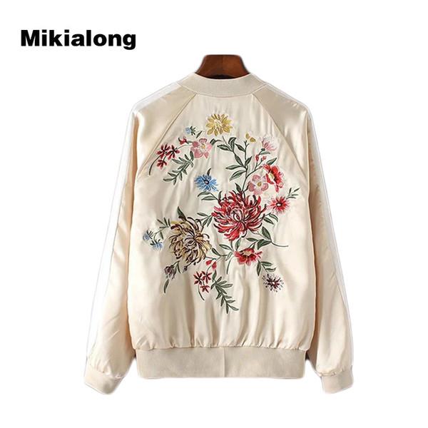 Großhandel 2017 Zurück Bomberjacke Baseball Frauen Von Stickerei Weiblichen Mantel Blume Harajuku Mikialong Outwear Grundlegende Jacke Vintage A43Lqc5Rj