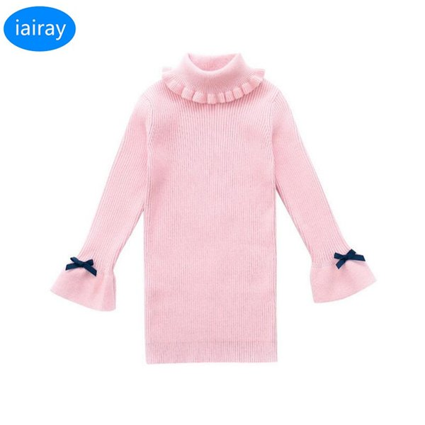 Kids Cute Pink Flare Sleeve Winter Sweater Turtleneck Long Kawaii Sweater  For Girls Pullover Autumn 2018 Cardigan Winter Clothes Boy Sweater Design