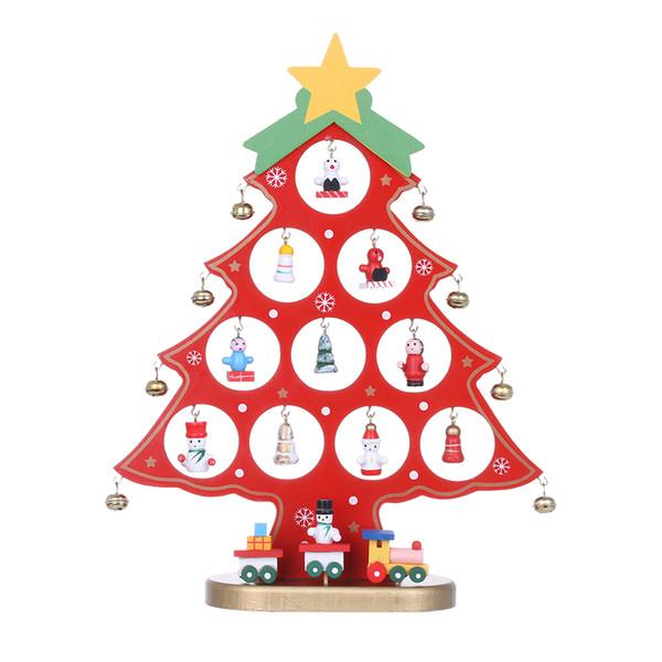 1Set Mini Wooden Christmas Tree Decor Desk Table Party Ornament DIY Xmas Gift Fashion Home Party Festival Decor Craft