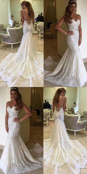 Lace Mermaid Wedding Dresses Sexy Backless Spaghetti Straps Chapel Train Elegant Bridal Gowns Beach Weddings Sweetheart Custom Made Fashion Mermaid