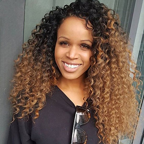 Free Shipping Dark Roots 1B/30# Ombre Brown Kinky Curly Lace Front Wigs Heat Resistant Glueless Synthetic Lace Front Wigs for Black Women