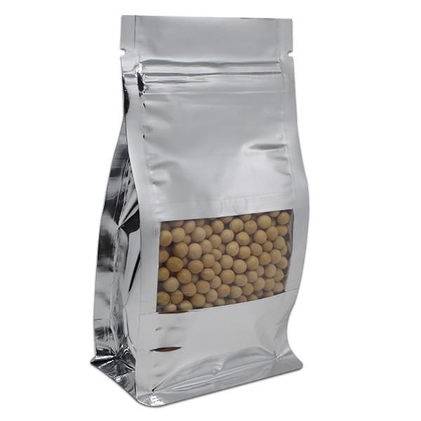 50Pcs/Lot Stand Up Aluminum Foil Clear Window Bellow Bag Ziplock Grip Seal Side Gusset Organ Food Packaging Pouches