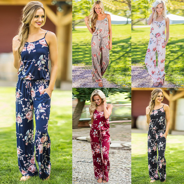 top popular Women Off Shoulder Jumpsuit Floral Print Sleeveless Spaghei Strap Sling Beach Romper Women Bodysuit Wide Leg Jumpsuit long Pants GGA1021 2019