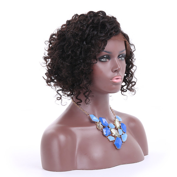 short curly human hair front lace wig for black women with baby hair bob style full lace wigs left side part