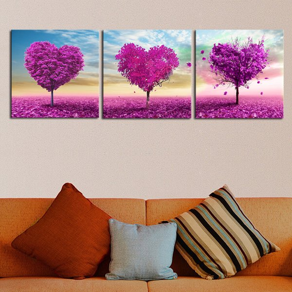 Paintings On Canvas Wall Art 3 Pieces Loving Trees Pictures Living Room HD Prints Purple Heart Trees Poster Framework Home Decor