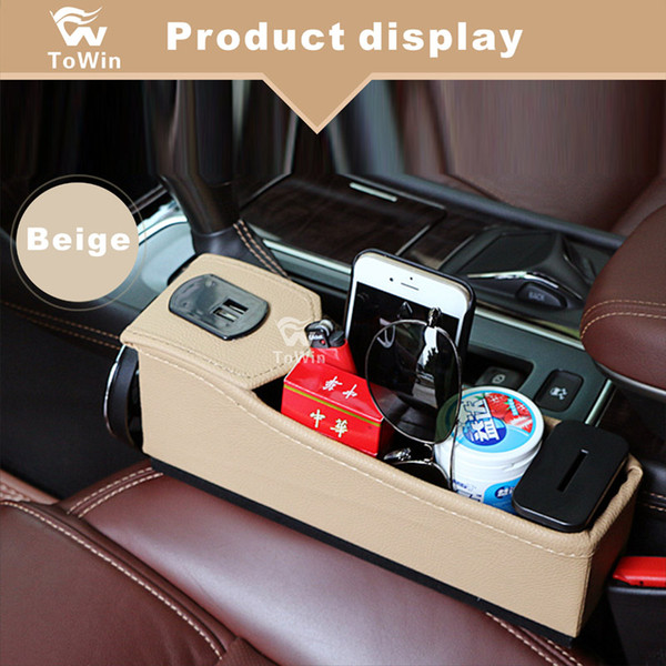 Multifunctional Car Seat Organize,Car Main Driving Seat Co-pilot Seat Crevice Storage Box With Dual USB Charger Drink Bracket.