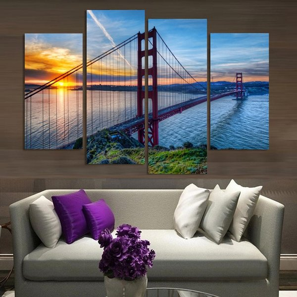 Free shipping Landscape Canvas Print Oil Painting 4 Piece Golden Gate Bridge Sunrise Home Decor Wall Art Picture for Room Cuadros Decoracion