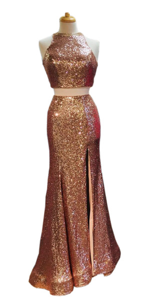 2019 Luxury Rose Gold Sequin Dresses Evening party Wear Two Piece Crystal beaded Mermaid Side Slit Long Cheap Prom pageant Formal Dress Gown