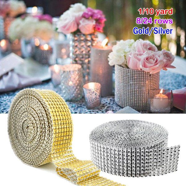10 Yard/ Roll 8 row Bling Diamond mesh Wrap ribbon silver Rhinestone Mesh Roll Tape Tulle Crystal Ribbon cake wedding Christmas decoration