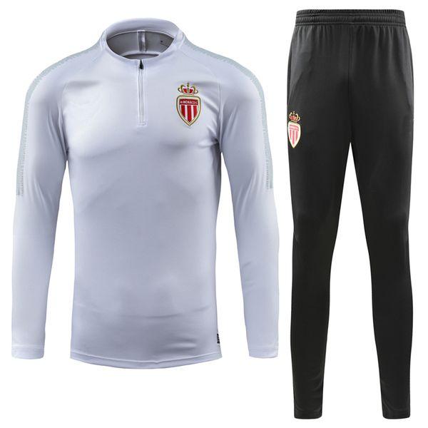 18-19 Monaco Soccer jacket MBAPPE tracksuit SILVA LEMAR FABINHO GLIK CARRILLO thai quality monaco Football long zipper training suit jacket