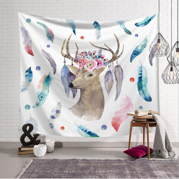150*130cm polyester American Tapestry deer cat yak Beach Towels Throw Yoga Mat Towel Indian Polyester wall hanging Decor
