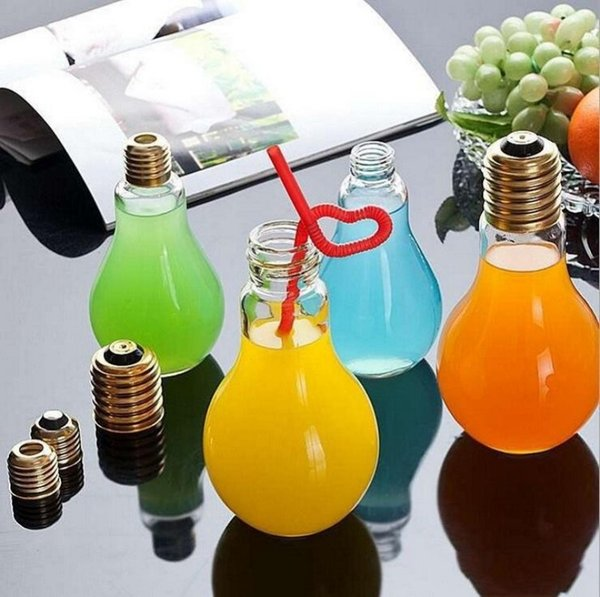 500ml Plastic LED Glowing Light Bulb Milk Beverage Juice Water Bottles Wedding Festival Bar Decoration