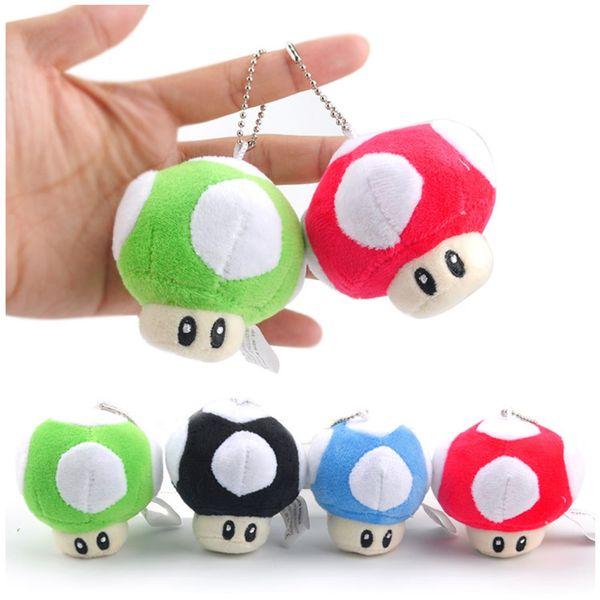 "Super Mario mushroom Plush toys Pendant 7cm 3"" Mario Bros Stuffed Animals Mixed 10 colors With Key Chain C1727"