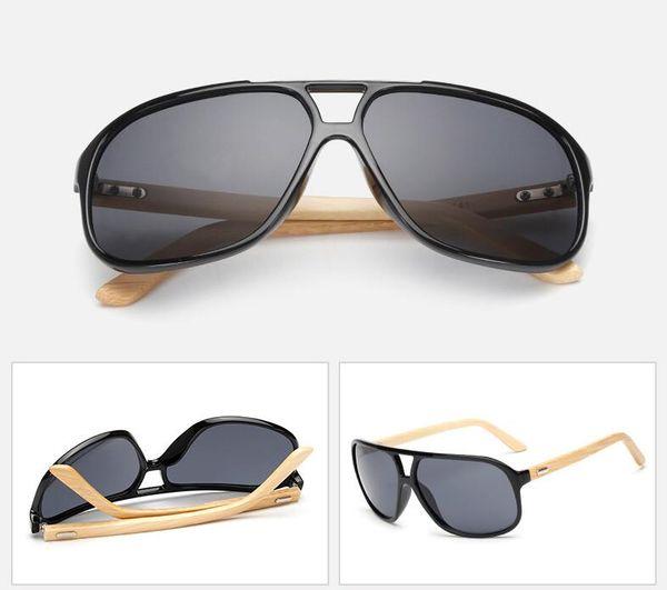 Hot Selling Retro Fashion Men Women Trend Bamboo Sunglasses Summer Beach Holiday Trave Sun Glasses Gray Resin Lenses 7 Color Eyeglasses