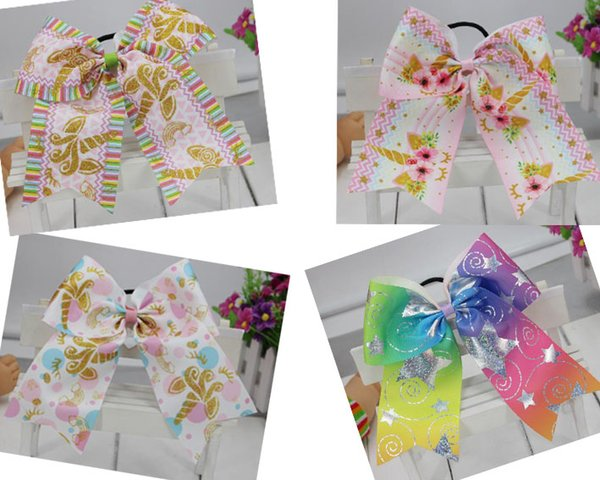 "9 STYLE 7"" Large Unicorn Hair Bows Elastic Rubber Bands Cheer Bows Hair Ties Grosgrain Ribbon Cheerleading Bow Hair Accessories 10PCS/"