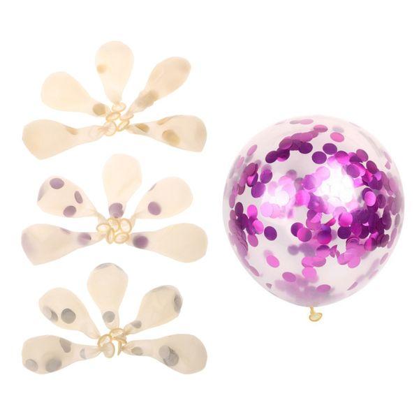12 Zoll 5Pcs lila / Gold / Silber Konfetti Ballons gefüllt mit Multicolor Papier Hochzeit Party Decor