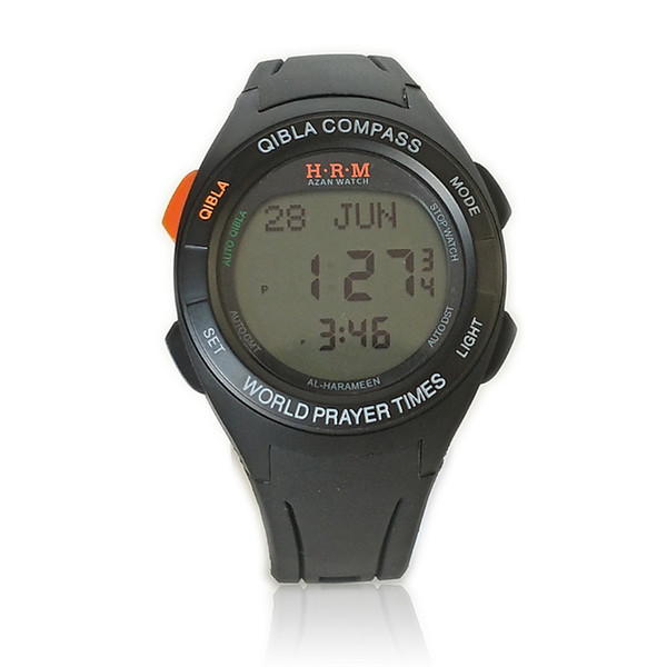 Automatic Qibla Watch with Two Cities Time 6507 Azan Watch with Shuroq Time Moon age Pray Hijri Sport