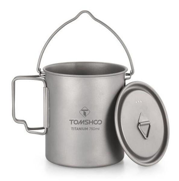 Pot de 750 ml en titane tasse d'eau en titane avec couvercle et poignée pliable pour le camping en plein air