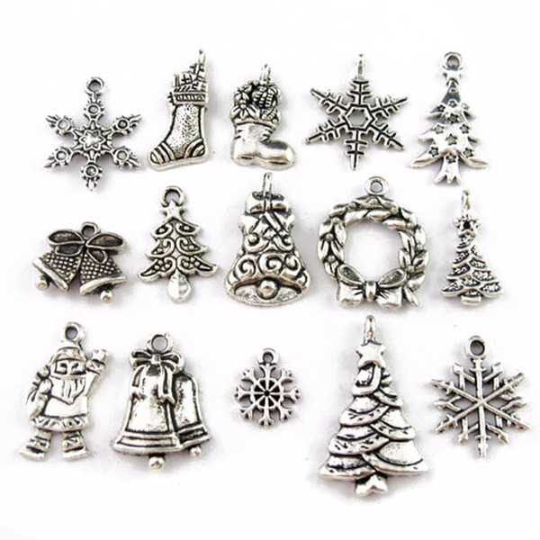 JX-LCLYL 30pcs New Mixed Tibetan Silver Tone Christmas Charms Pendants Jewelry Craft DIY