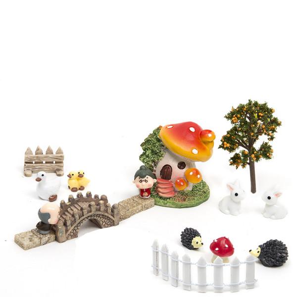 18 pçs / set micro paisagem casa bonsai diy casa de bonecas modelo suculentas decoração de fadas do jardim miniaturas estatuetas de terrário