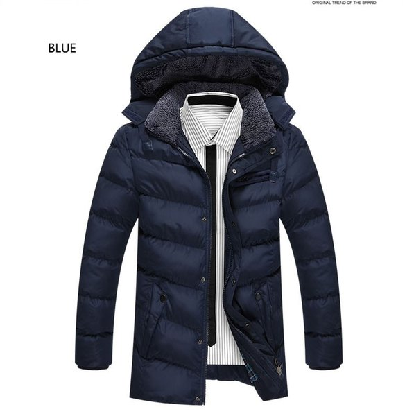 2018 Brand Long Hooded Parkas Men Winter Cotton Padded Jacket Warm Casual Polyester Thick Wadded Coat With Hood Plus Size