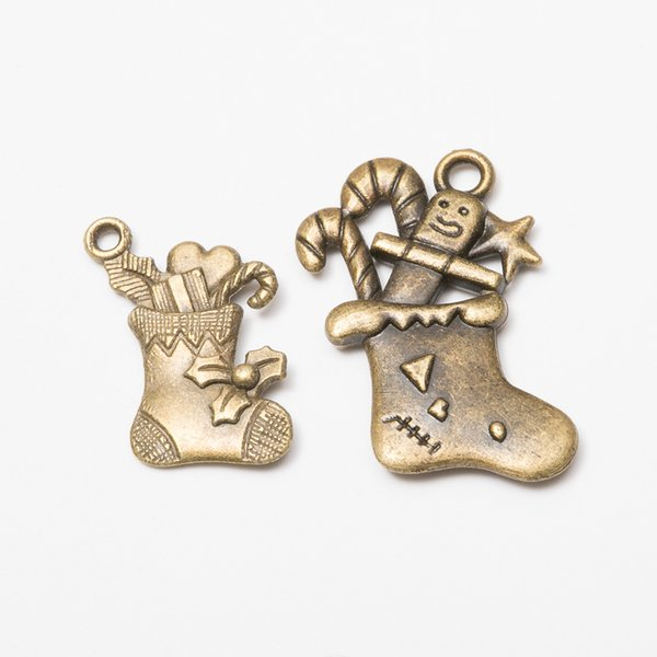 100pcs Christmas Boots Charms Antique Bronze DIY Jewelry Making Pendant for Fashion Bracelet Necklace Earrings