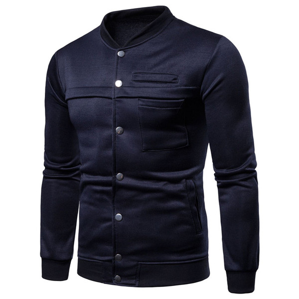 Autumn Warm Winter Mens Sweatshirts Long Sleeve Coats Plain Slim Fitness Joggers Bodybuilding Sweatshirts Fashion Men Clothes