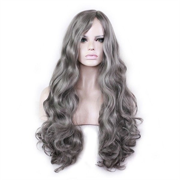 Wig Long Wavy Costume Hair Gray Grey Cosplay Sexy Womens Black Curly Wigs Silver