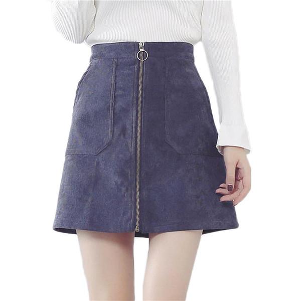 c4a55fd06c9e New Autumn Winter A Line Corduroy Skirt Women High Waist Front Zipper  Skirts Pocket Saias Ladies