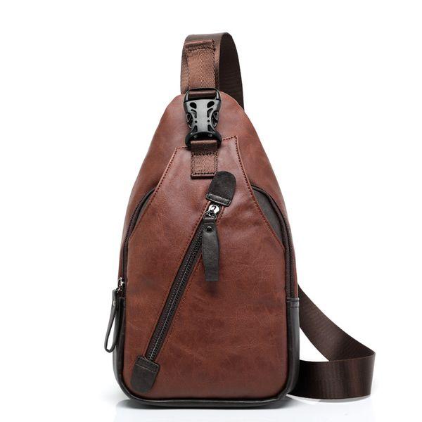 Moda Shell Crossbody Bags for Men Riding Messenger Chest Bags Hombre PU Pecho de cuero Impermeable Correa de hombro Pack
