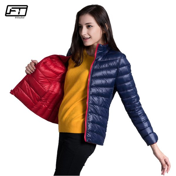 fe23df783 2018 Fitaylor New Winter Women Down Jacket Ultra Light 90% White Duck Down  Double Side Coats Short Design Slim Warm Parkas From Duanhu, $37.73 | ...